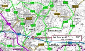 Übersicht Kreuzung B1 L233 Hennickendorf Rüdersdorf